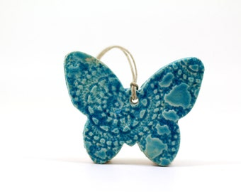 Turquoise butterfly ornament Holiday ornament Holidays decor Wall hanging