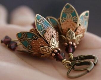 Flower dangle earrings turquoise green romantic brass filigree