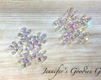 Crystal AB Rhinestone Snowflakes, 24mm, Flatback Embellishments, Snowflake Buttons, Crystal Snowflakes, Snowflake Embellishments, DIY Crafts