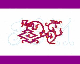 Chinoiserie Dragon Motif Mini Machine Embroidery Design