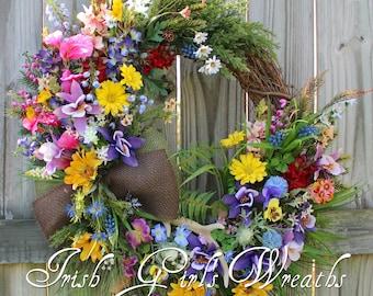 MADE TO ORDER- Colorado Columbine Wilderness Wildflower Landscape Wreath, Mountain Summer Floral, Larkspur, Juniper, Cedar