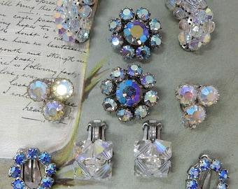 5 Pr. Aurora Borealis Rhinestone & Crystal Clip On Earrings Lot WEISS BOGOFF  OEC52