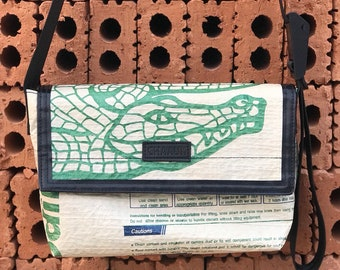 "Upcycled ""Crocodile Cement"" Messenger Bag"