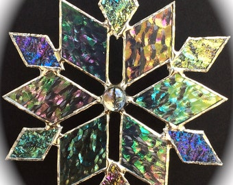 stained glass snowflake suncatcher (design 3B)