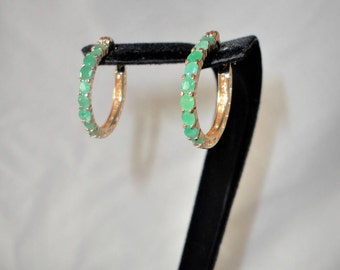 Elegant Emerald Hoop Gold Plated Earrings*****.