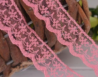 quality 2 meters lace rose 2 cm wide