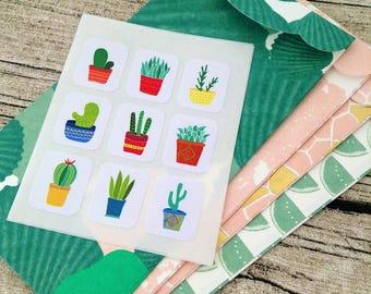 72 cactus stickers. Rectangle cactus seals. Cactus Envelope seals plant sticker. Plant Envelope seal. Succulent Wedding