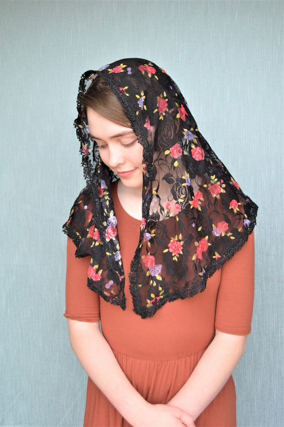 Black Lace with Roses Mantilla | Catholic Chapel Veil Catholic Mantilla Black Chapel Veil Mass Veil for Mass Robin Nest Lane Flowers Red