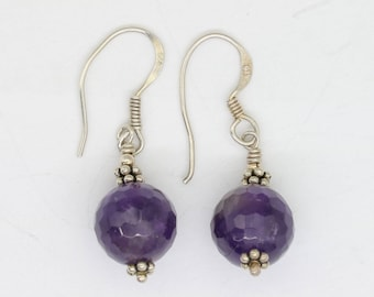vintage amethyst dangle earrings with sterling silver ornaments, amethyst jewelry, gemstone earrings, gemstone jewelry, purple earrings