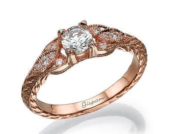Antique Engagement Ring, Unique engagement ring, Rose Gold Engagement Ring, Vintage Ring, Art deco ring, Wedding ring, Milgrain ring