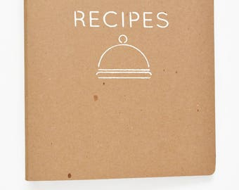 Recipe Binder -- Hand-Stenciled Cover with 24 Letter Size Recipe Cards and 8 Tabs in Cloche Design