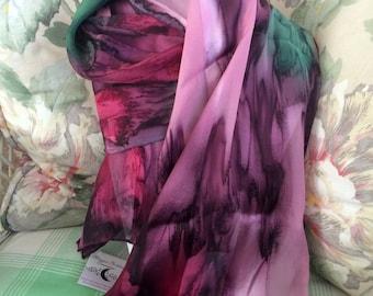 Scarf, Silk, Women, Hand Dyed,  Silk Scarf,  Purple Pink Green