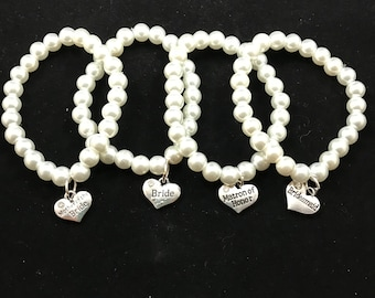 Bridal Party Bracelets - Wedding- Bridesmade gift- Mother of the Bride- Flower Girl - Matron of Honor- Gift for Her -Bracelet - Gift for Her