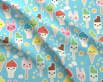 Kawaii Ice Cream fabric by the yard designed by Kimsa - Blue Kawaii Ice Cream Baby Cotton Fabric by the Yard with Spoonflower Fabrics