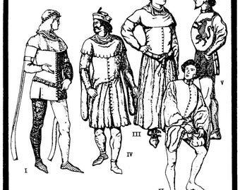Men's Medieval Cotehardies circa 1340-1420 sizes 36-48 Period Patterns Sewing Pattern # 23