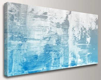 """Modern Abstract Painting Canvas Print of Original Painting Extra Large Art Painting in Blue White Modern Artwork for Bedroom """"Kinesis"""""""