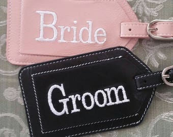 Bride and Groom Leather Luggage Tags