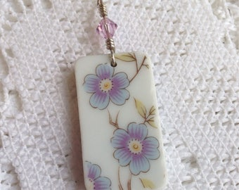 Broken China Jewelry - Blue and Lavender Pendant - Rectangle