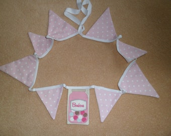 Bunting Fryetts 'Polka Dot and Sweet Shop' Top quality Furnishing Fabric. 54 inches(137 cms.) Long. 9 flags.