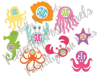 Sea Life Monogram Frames SVG  Clip Art Cut Files Summer Time Cuttable File Beach Cover Up SVG for Electronic Cutters