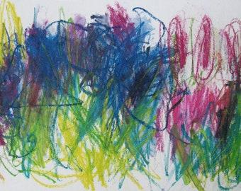 Clover GICLEE ART PRINT 11 x 8 spring deep pink, blue, green, acid green