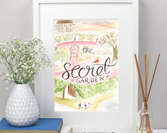 The Secret Garden print, book lover gift, Secret Garden nursery wall art, literary gifts, bookworm gifts, librarian gifts, teen girl room