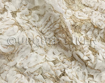 Patina Embroidery Fabric in Ivory - Perfect for wedding tablecloths and decorative fabric.