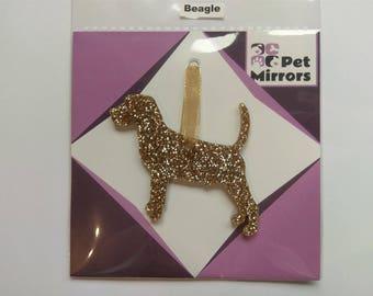 Glitter acrylic Beagle Christmas decoration - 9 colour choices