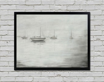 Foggy Boats Original Charcoal Drawing