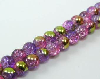 Set of 10 beads 6 mm glass Crackle half plate Pink Purple and gold