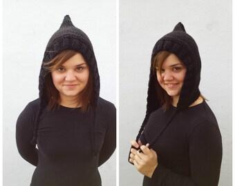 Black wool hood, knit hood, black hood, wool hood, knit black hat, knit wool hat, wool black hat, winter hat, black winter hat, hat braid