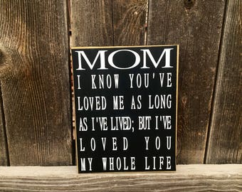 Mother's Day sign-Mom I know you've loved me as long as....Mom gift, Mom sign