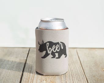 Funny beer can cooler - Bear - beer lover home brew stocking stuffer bear-beer