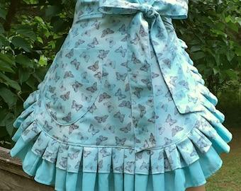 Handmade Apron // Butterflies Apron // Womans Apron // Half Apron // Hostess Apron // Kitchen Apron // Womans Gift // Friend Gift