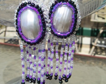 Reserved - Native American made, Mother of Pearl with fringe earrings