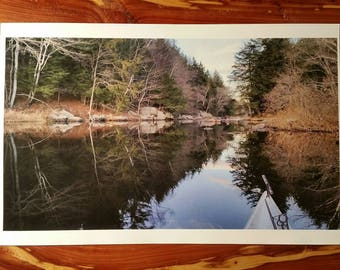 Kunjamuk Kayaking, Speculator, NY. Beautiful Calm River Peace, Forest View Mirror Reflection