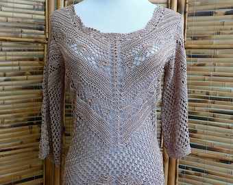 CLEARANCE! Vintage 1990s does 1970s Silky Beige Crochet Scoopneck 3/4 Bell Sleeves Sweater - Small/Medium