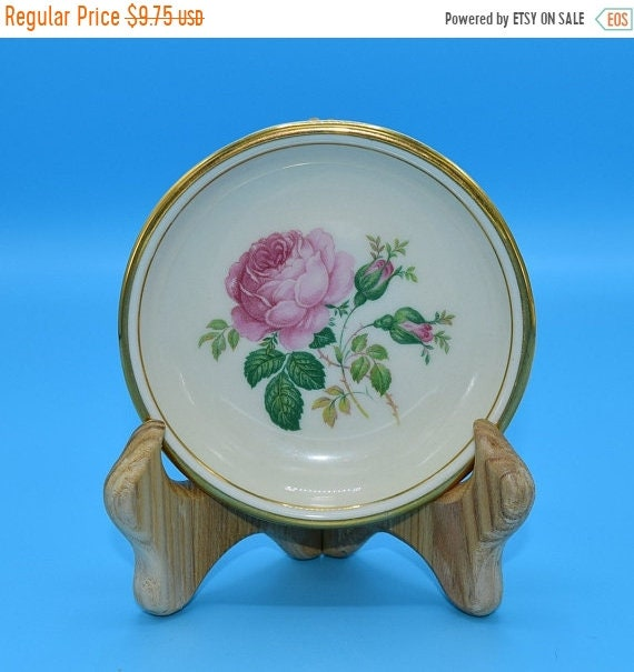 Delayed Shipping Hyalyn Pink Rose Coaster Vintage American Pottery Small Plate Pink Cabbage Rose Gift for Her Mothers Day Wedding Decor Gift
