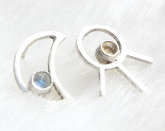 Mismatched earrings- Sun and moon studs- Asymmetric earrings- Silver studs- Gemstone earrings-  Geometric earrings- Gift for her- Moonstone