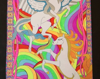 Over the Rainbow. A3 Pen and Ink Illustration Print featuring Unicorns and Pegasus