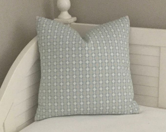 Thibaut Delilah Spa Blue and Sand (on both sides) Designer Pillow Cover  - Square, Lumbar and Euro Sizes