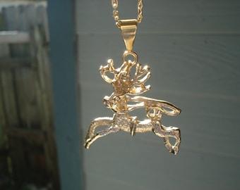 Vintage 1970's Gold Reindeer Caribou Necklace Native Tribal Inspired Alaska National Wildlife Refuge