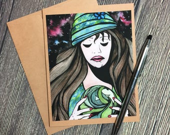 Seer Original Watercolor Print - Kraft Note Card