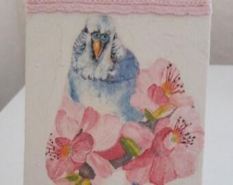 Mixed media mini canvas art, birds,painted, lace, canvas art.