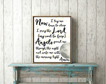 Nursery poem (set) Now I lay me down to sleep. Perfect for your home, nursery or children's room.