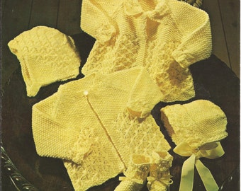 "PDF Knitting Pattern Baby Matinee Coat Set with Bonnets and Bootees to fit sizes 18 to 20"" (BRT142)"