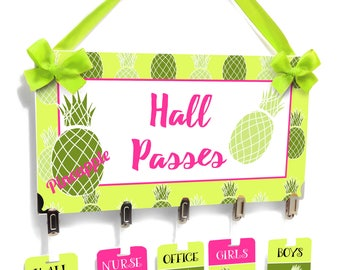 personalized teacher hall passes, pink and green tropical pineapples theme - students hall badge - CHP151