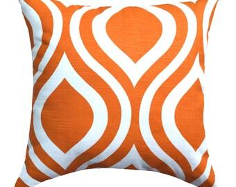 """Orange Pillow Cover, 20"""" Orange and White Pillow, Orange Toss Pillow, Ogee Pillow Cover, Geometric Cushion Cover, Orange Decor, Sofa Pillow"""