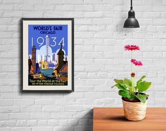 AMERICA TRAVEL POSTER: Vintage Travel Poster Chicago Worlds Fair 1934,  Art Print