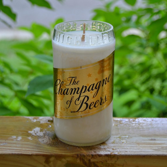 Miller High Life beer bottle candle (gold label edition) made with soy wax